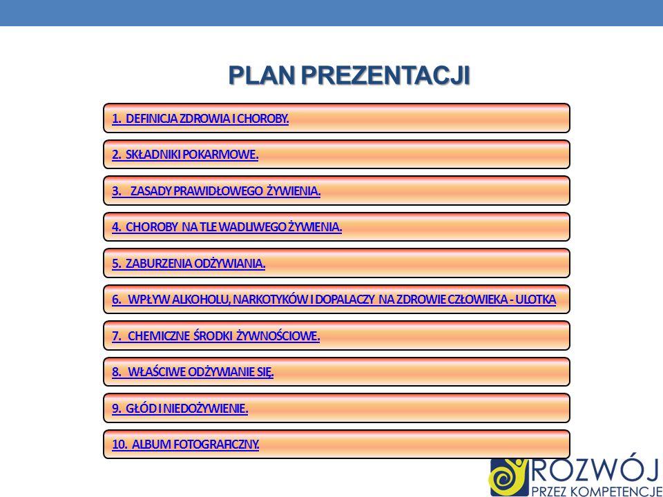 Plan prezentacji 1. Definicja zdrowia i choroby.