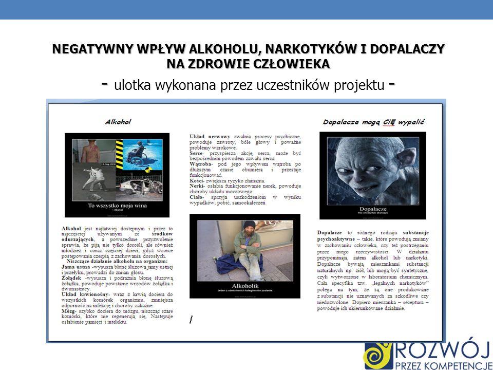 NEGATYWNY WPŁYW ALKOHOLU, NARKOTYKÓW I DOPALACZY
