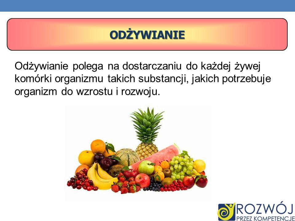 Odżywianie Odżywianie polega na dostarczaniu do każdej żywej komórki organizmu takich substancji, jakich potrzebuje organizm do wzrostu i rozwoju.
