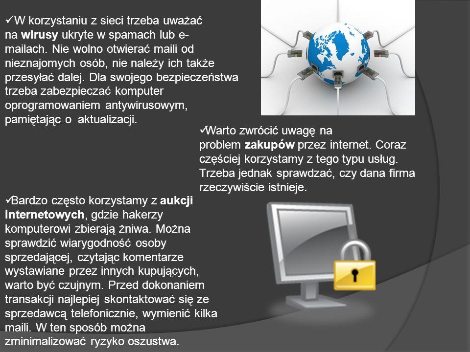 W korzystaniu z sieci trzeba uważać na wirusy ukryte w spamach lub e-mailach. Nie wolno otwierać maili od nieznajomych osób, nie należy ich także przesyłać dalej. Dla swojego bezpieczeństwa trzeba zabezpieczać komputer oprogramowaniem antywirusowym, pamiętając o aktualizacji.