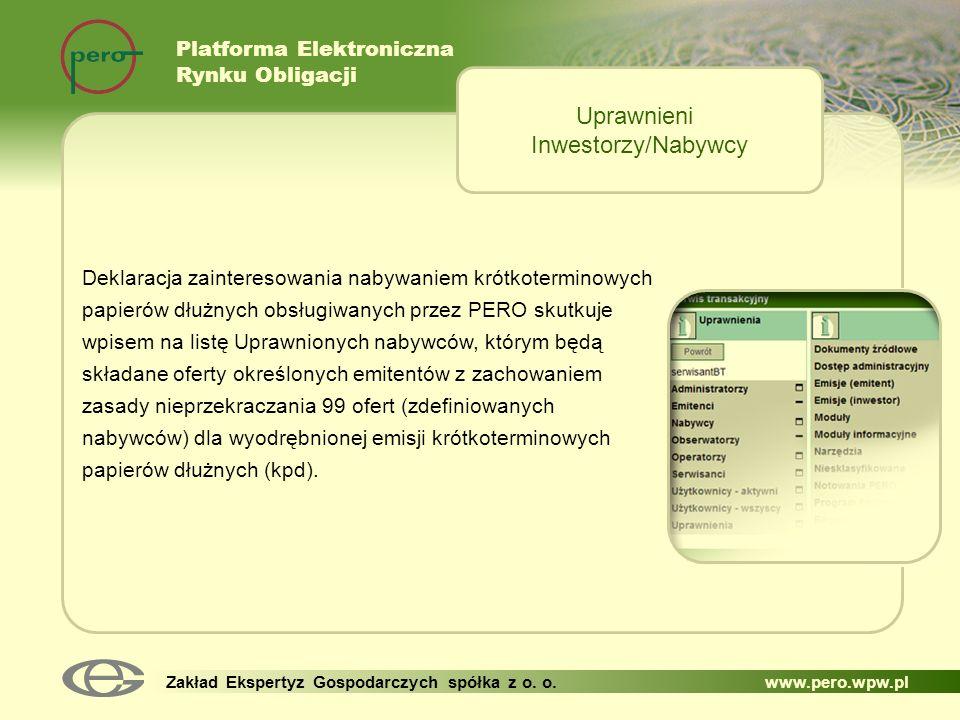 Uprawnieni Inwestorzy/Nabywcy Platforma Elektroniczna Rynku Obligacji