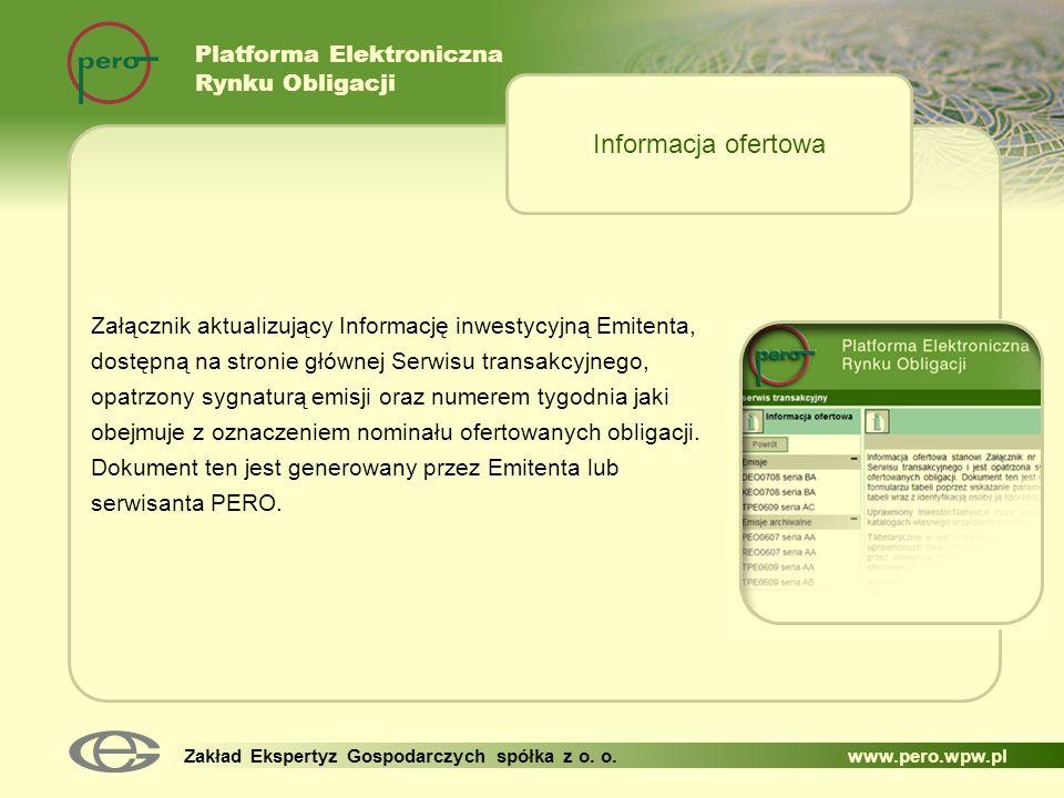 Informacja ofertowa Platforma Elektroniczna Rynku Obligacji