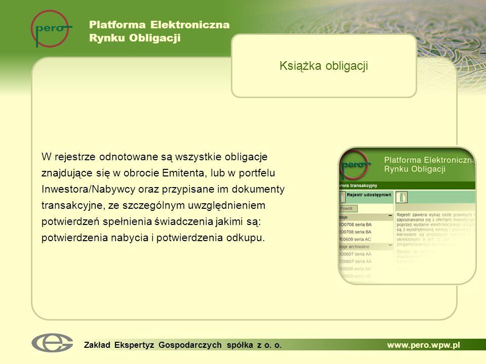 Książka obligacji Platforma Elektroniczna Rynku Obligacji