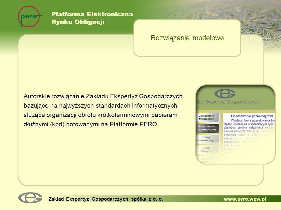 Rozwiązanie modelowe Platforma Elektroniczna Rynku Obligacji