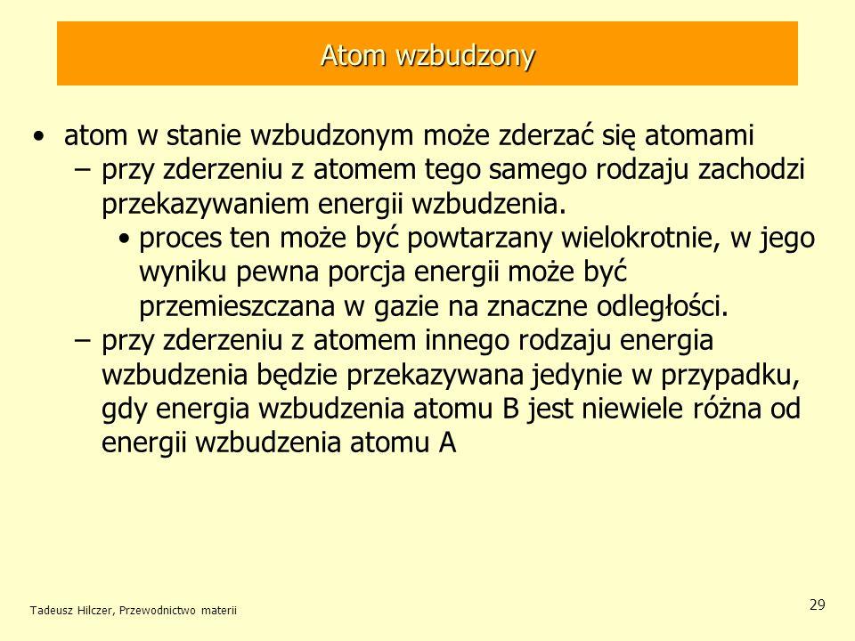 atom w stanie wzbudzonym może zderzać się atomami