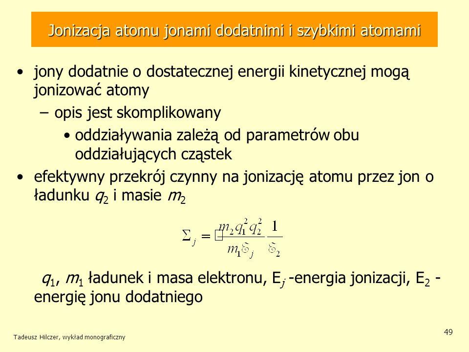 Jonizacja atomu jonami dodatnimi i szybkimi atomami