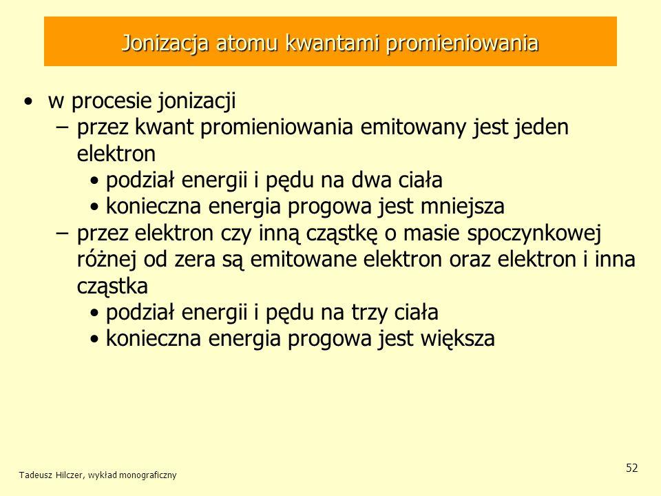 Jonizacja atomu kwantami promieniowania