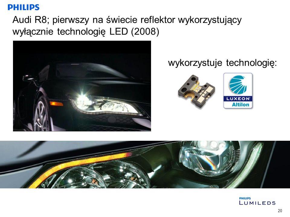 Audi R8; pierwszy na świecie reflektor wykorzystujący wyłącznie technologię LED (2008)