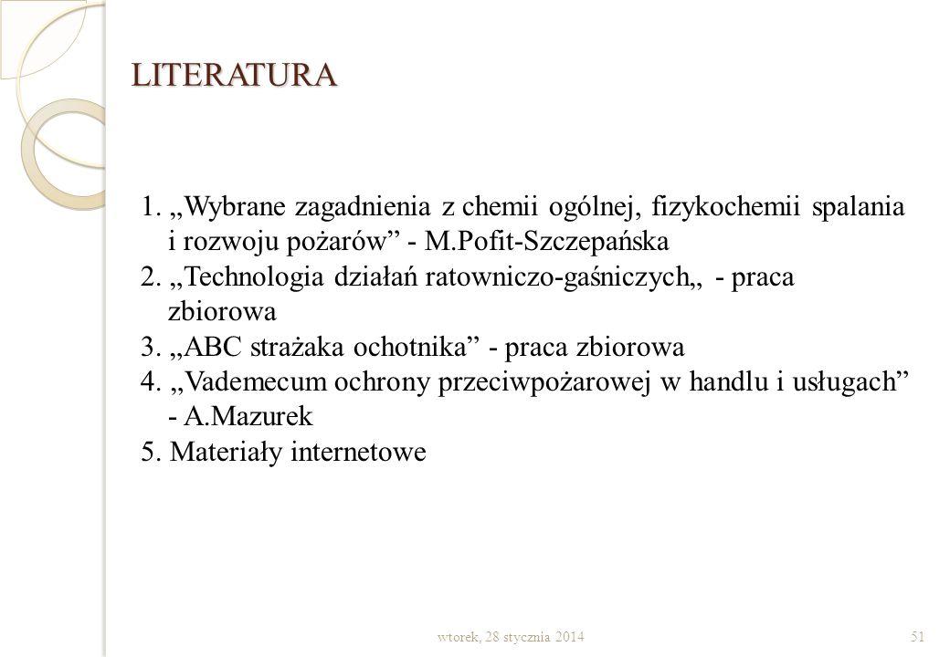 """LITERATURA 1. """"Wybrane zagadnienia z chemii ogólnej, fizykochemii spalania i rozwoju pożarów - M.Pofit-Szczepańska."""
