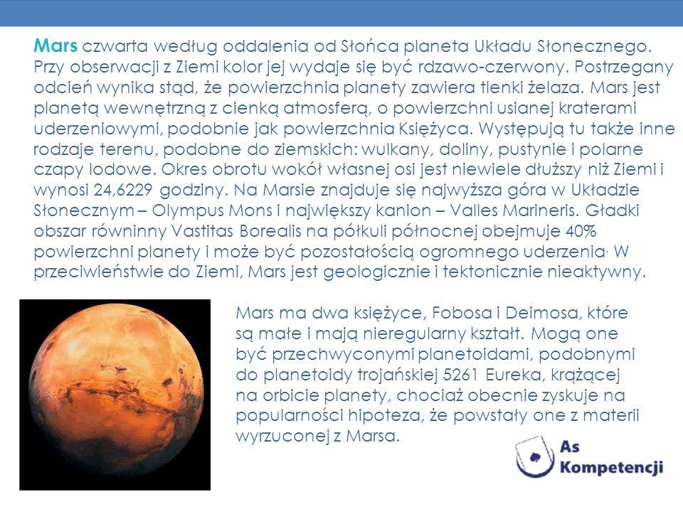 Mars czwarta według oddalenia od Słońca planeta Układu Słonecznego