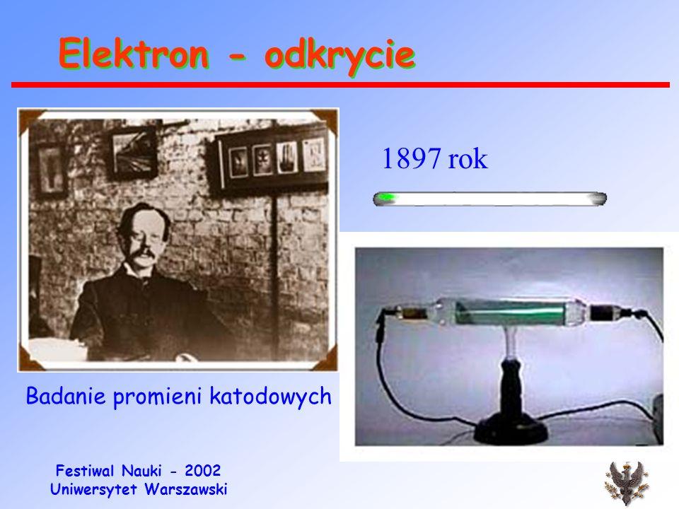 Elektron - odkrycie 1897 rok Badanie promieni katodowych