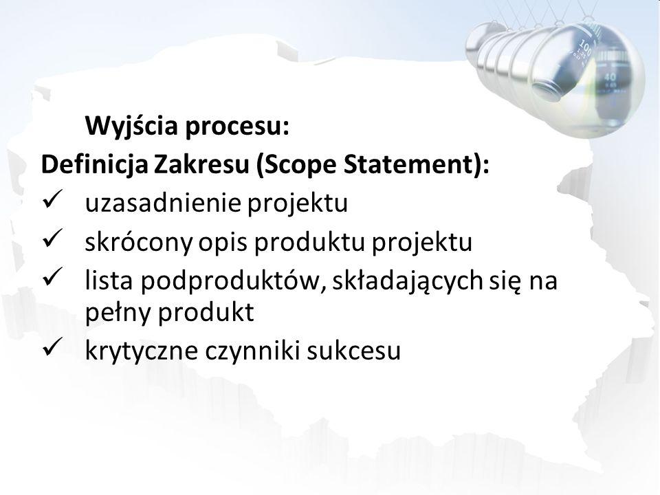 Wyjścia procesu: Definicja Zakresu (Scope Statement): uzasadnienie projektu. skrócony opis produktu projektu.