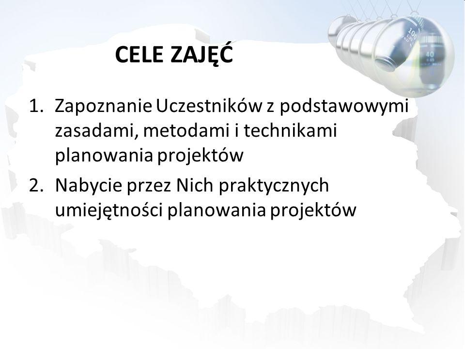 CELE ZAJĘĆ Zapoznanie Uczestników z podstawowymi zasadami, metodami i technikami planowania projektów.