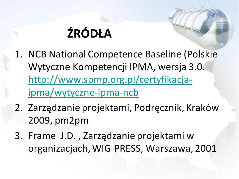ŹRÓDŁA NCB National Competence Baseline (Polskie Wytyczne Kompetencji IPMA, wersja 3.0. http://www.spmp.org.pl/certyfikacja-ipma/wytyczne-ipma-ncb.