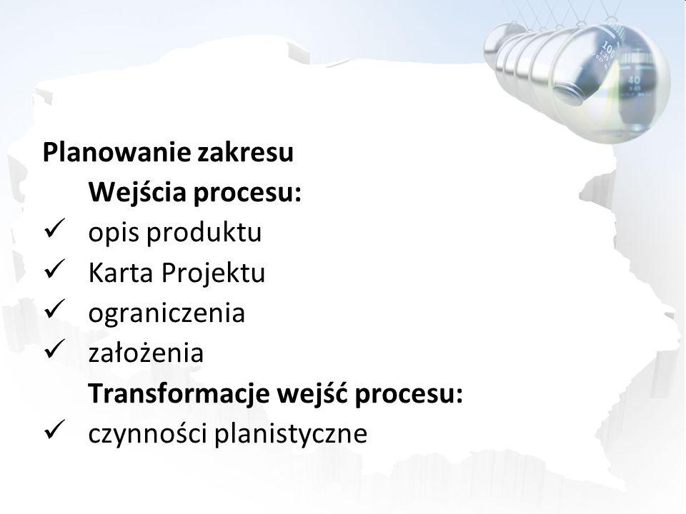 Planowanie zakresuWejścia procesu: opis produktu. Karta Projektu. ograniczenia. założenia. Transformacje wejść procesu: