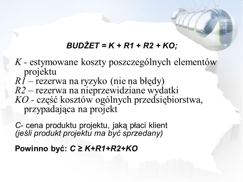 K - estymowane koszty poszczególnych elementów projektu