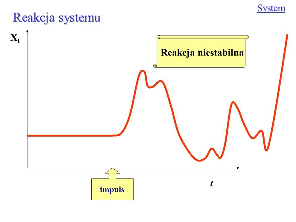 System Reakcja systemu Xt Reakcja niestabilna impuls t