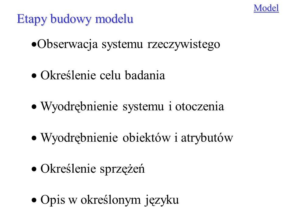 Obserwacja systemu rzeczywistego Określenie celu badania