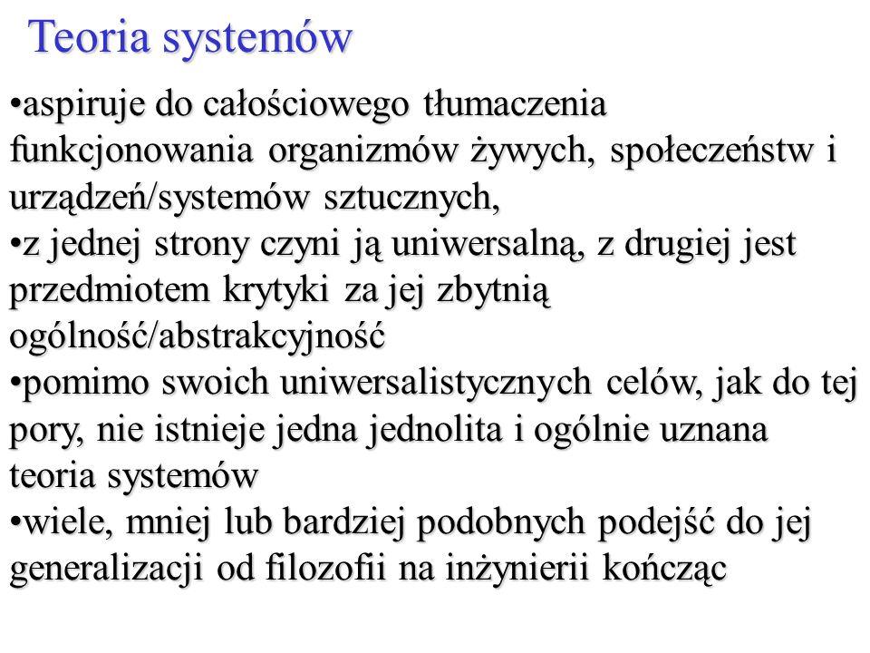 Teoria systemów aspiruje do całościowego tłumaczenia funkcjonowania organizmów żywych, społeczeństw i urządzeń/systemów sztucznych,