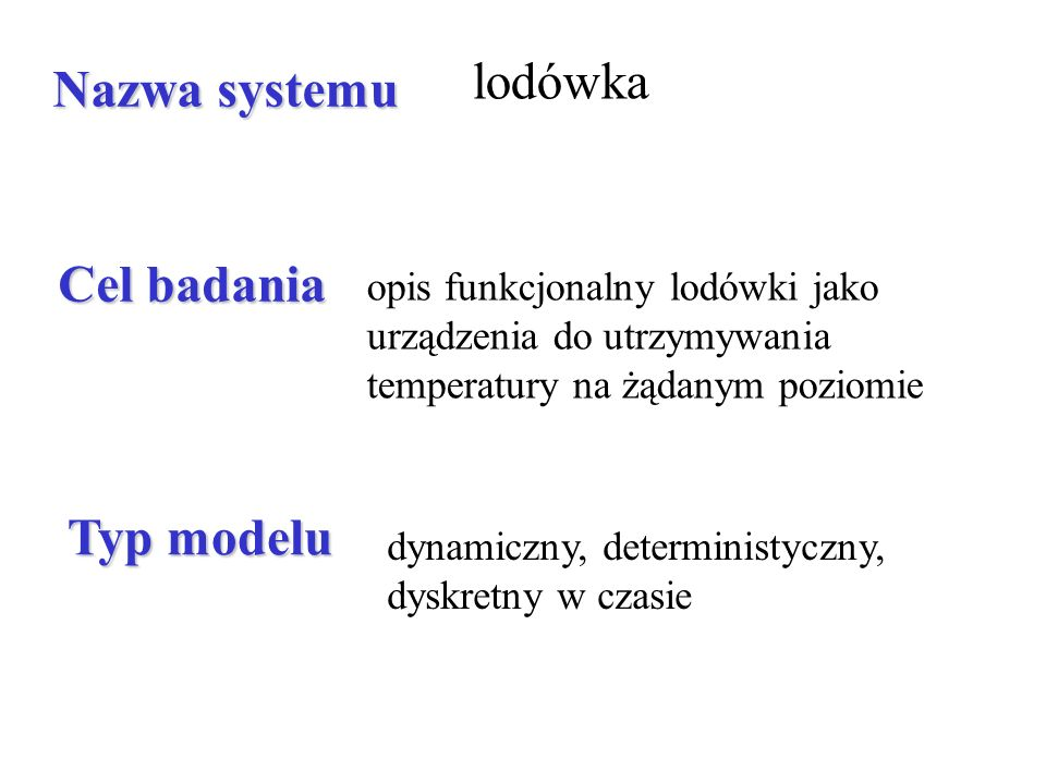 lodówka Nazwa systemu Cel badania Typ modelu