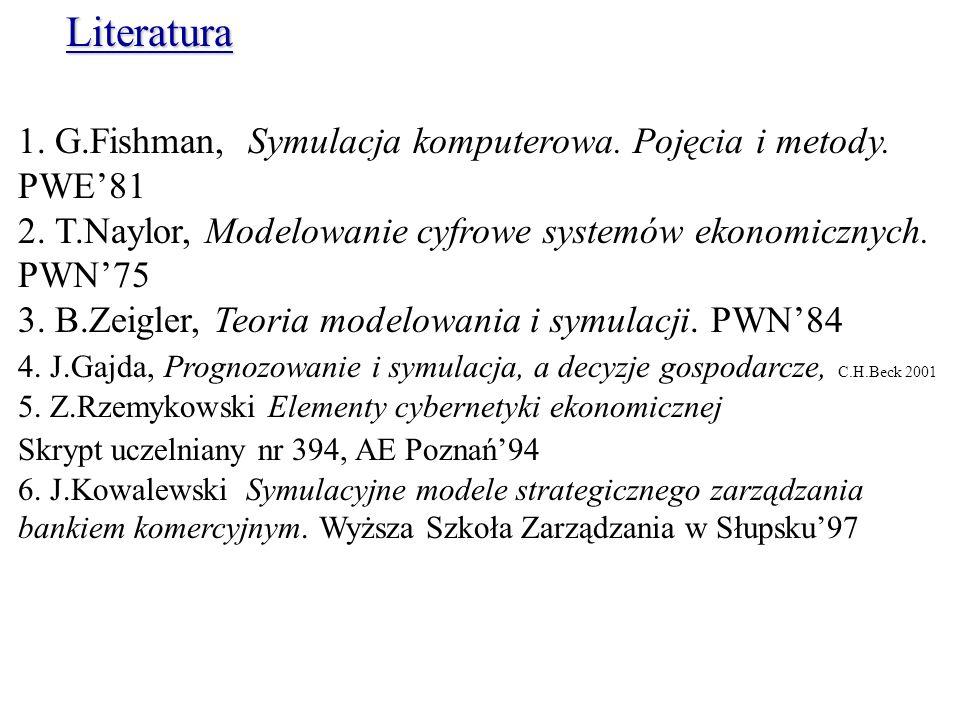 Literatura 1. G.Fishman, Symulacja komputerowa. Pojęcia i metody. PWE'81. 2. T.Naylor, Modelowanie cyfrowe systemów ekonomicznych. PWN'75.