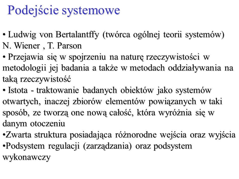 Podejście systemowe Ludwig von Bertalantffy (twórca ogólnej teorii systemów) N. Wiener , T. Parson.