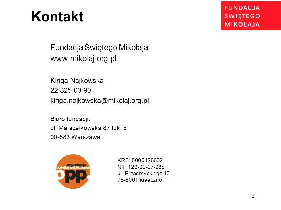 Kontakt Fundacja Świętego Mikołaja www.mikolaj.org.pl Kinga Najkowska