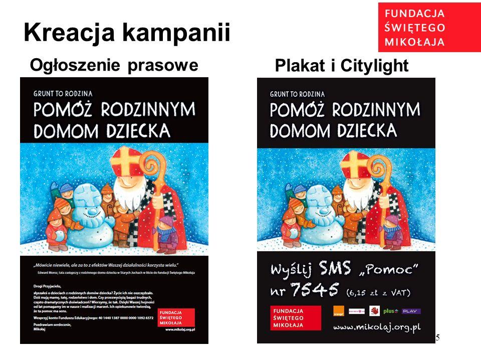 Kreacja kampanii Ogłoszenie prasowe Plakat i Citylight