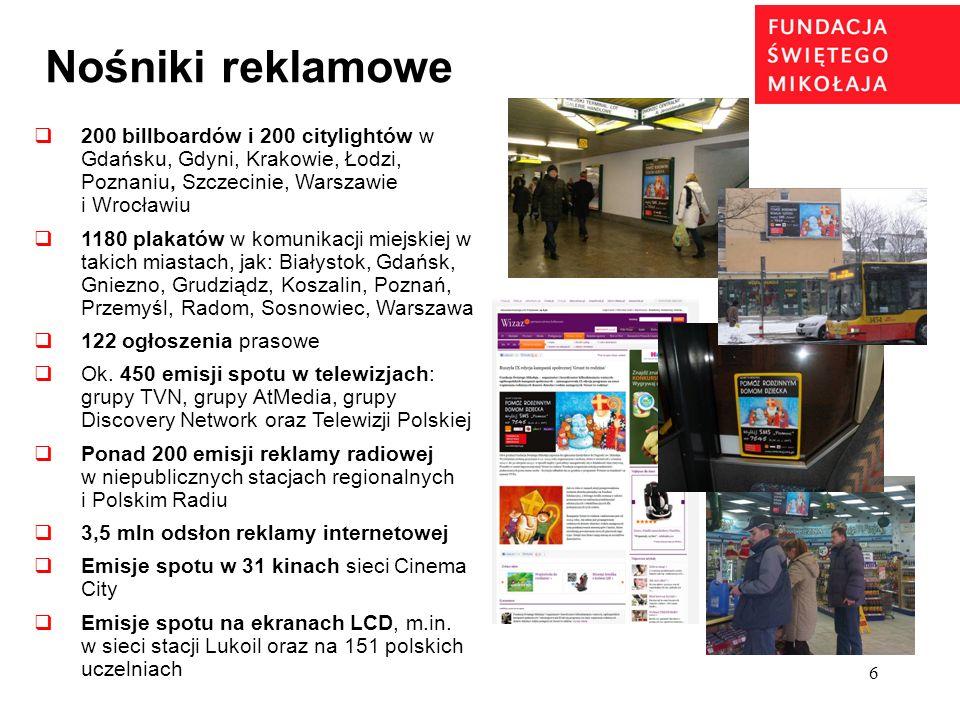 Nośniki reklamowe 200 billboardów i 200 citylightów w Gdańsku, Gdyni, Krakowie, Łodzi, Poznaniu, Szczecinie, Warszawie i Wrocławiu.