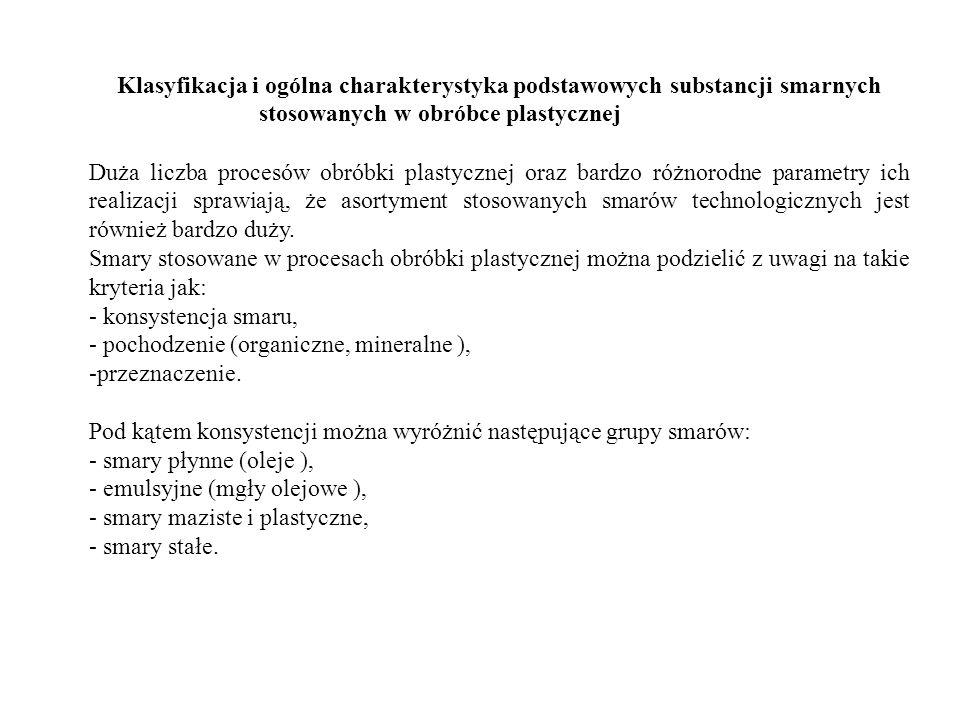 Klasyfikacja i ogólna charakterystyka podstawowych substancji smarnych stosowanych w obróbce plastycznej
