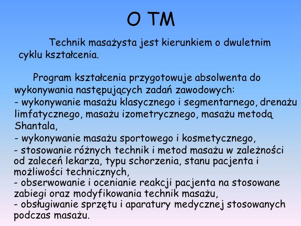 O TM Technik masażysta jest kierunkiem o dwuletnim cyklu kształcenia.