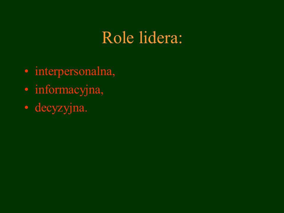 Role lidera: interpersonalna, informacyjna, decyzyjna.