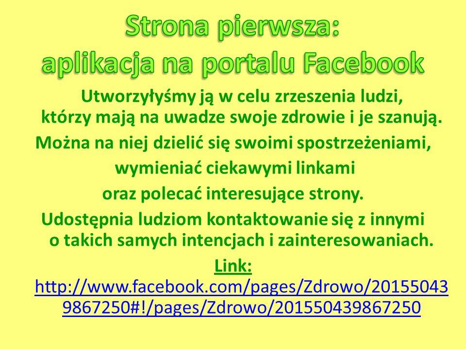 Strona pierwsza: aplikacja na portalu Facebook