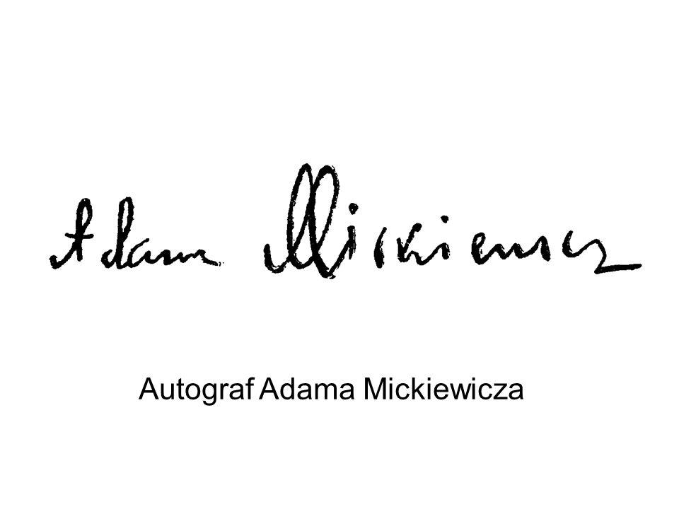 Autograf Adama Mickiewicza