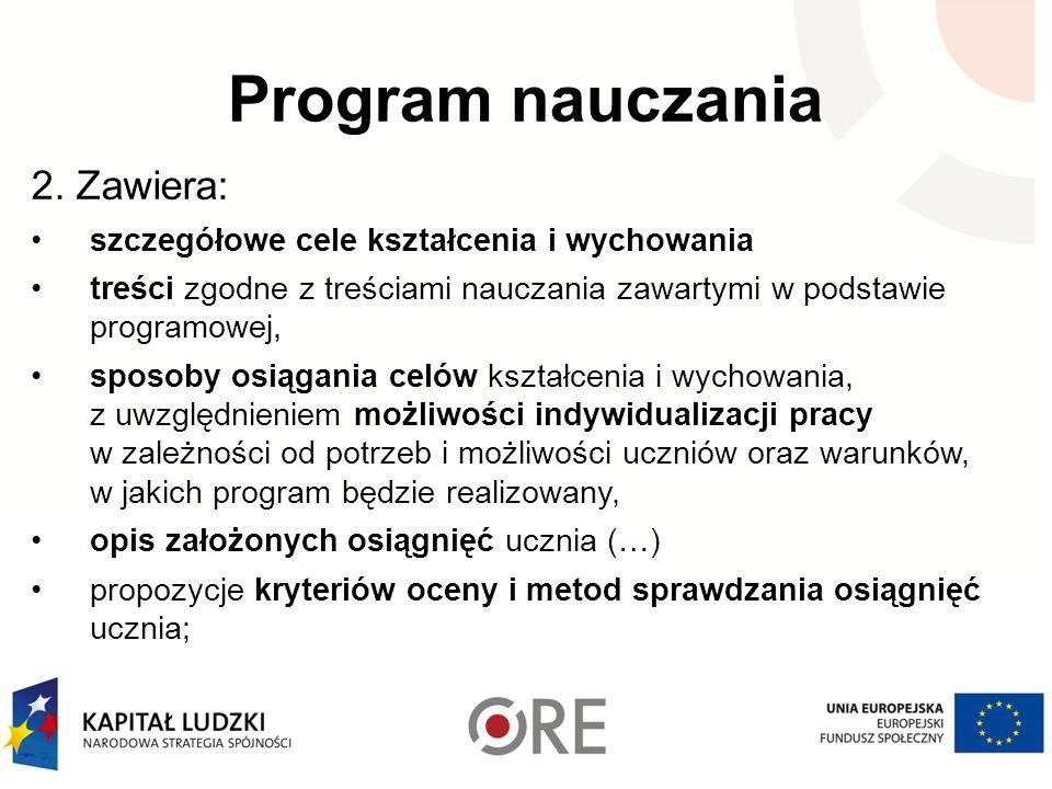 Program nauczania 2. Zawiera: