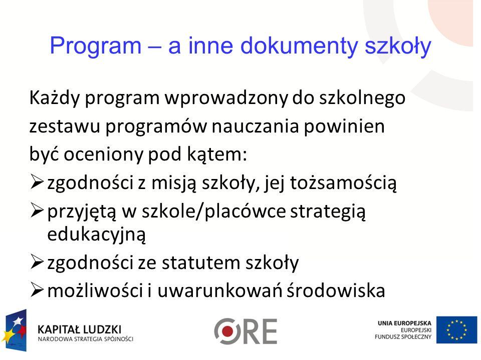 Program – a inne dokumenty szkoły