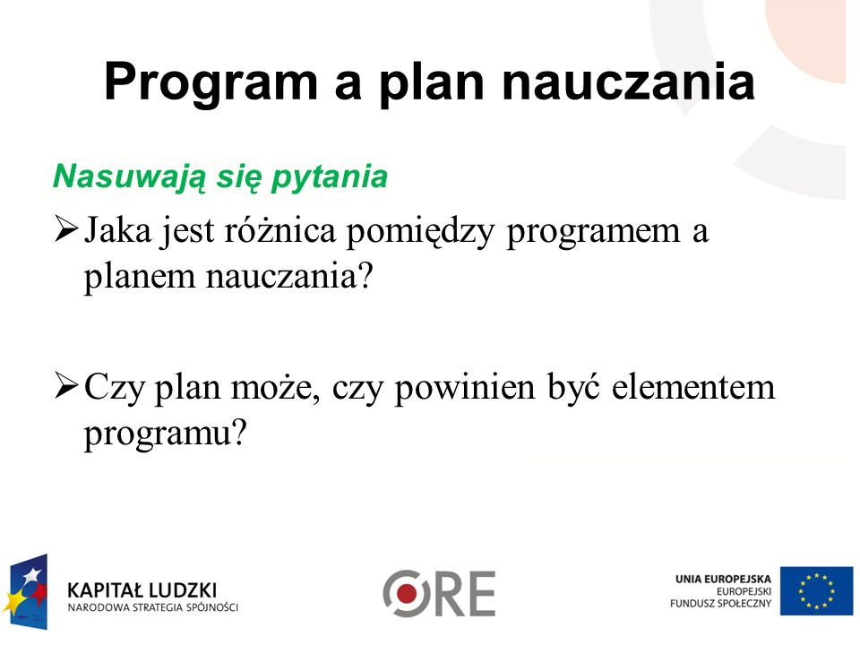 Program a plan nauczania