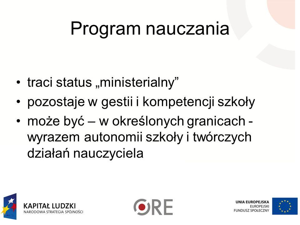 """Program nauczania traci status """"ministerialny"""