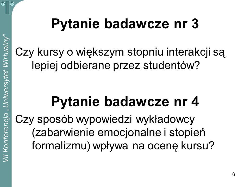 Pytanie badawcze nr 3 Pytanie badawcze nr 4