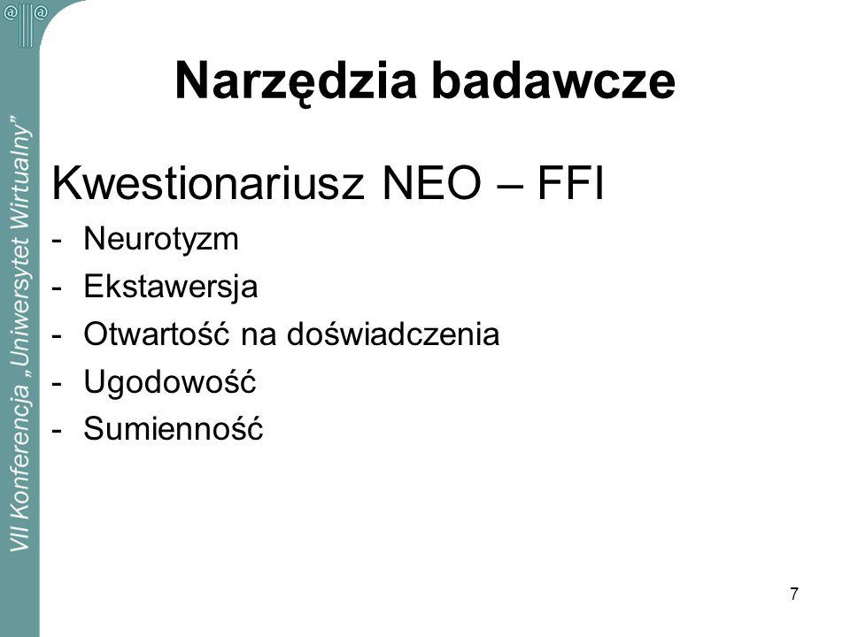 Narzędzia badawcze Kwestionariusz NEO – FFI Neurotyzm Ekstawersja