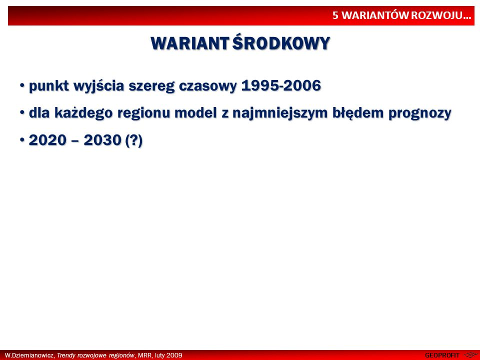 WARIANT ŚRODKOWY punkt wyjścia szereg czasowy 1995-2006