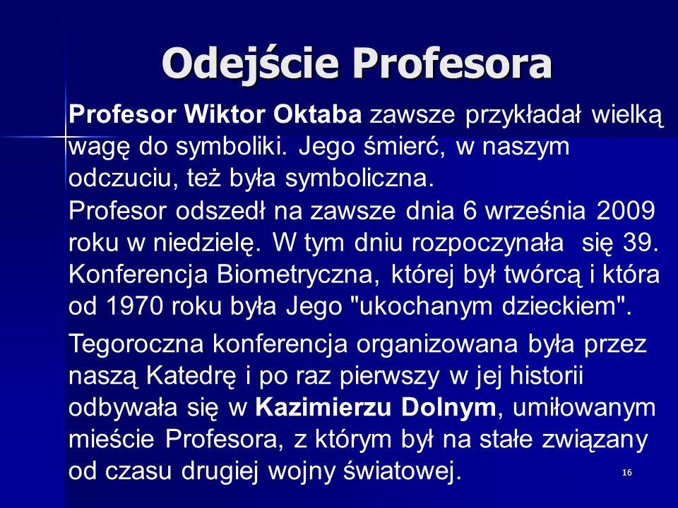 Odejście Profesora Profesor Wiktor Oktaba zawsze przykładał wielką wagę do symboliki. Jego śmierć, w naszym odczuciu, też była symboliczna.