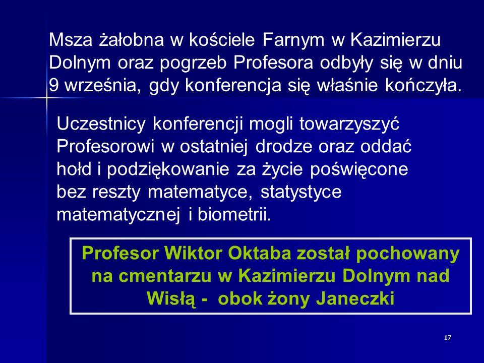 Msza żałobna w kościele Farnym w Kazimierzu Dolnym oraz pogrzeb Profesora odbyły się w dniu 9 września, gdy konferencja się właśnie kończyła.