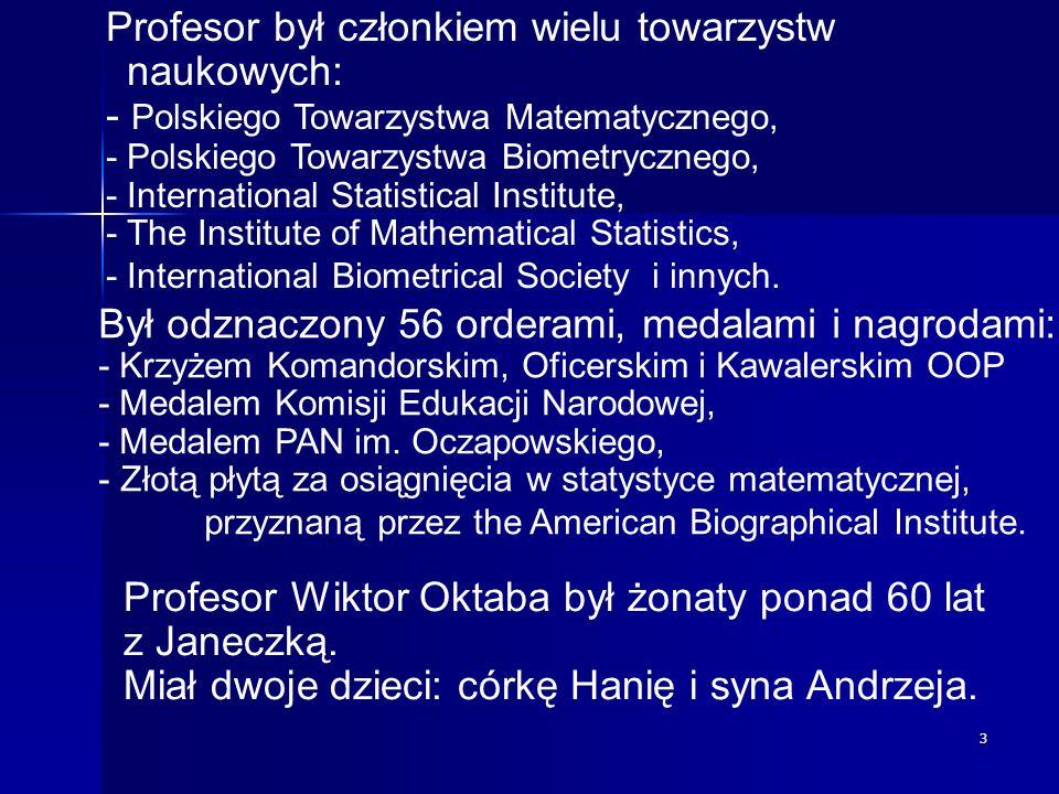 Profesor był członkiem wielu towarzystw naukowych: