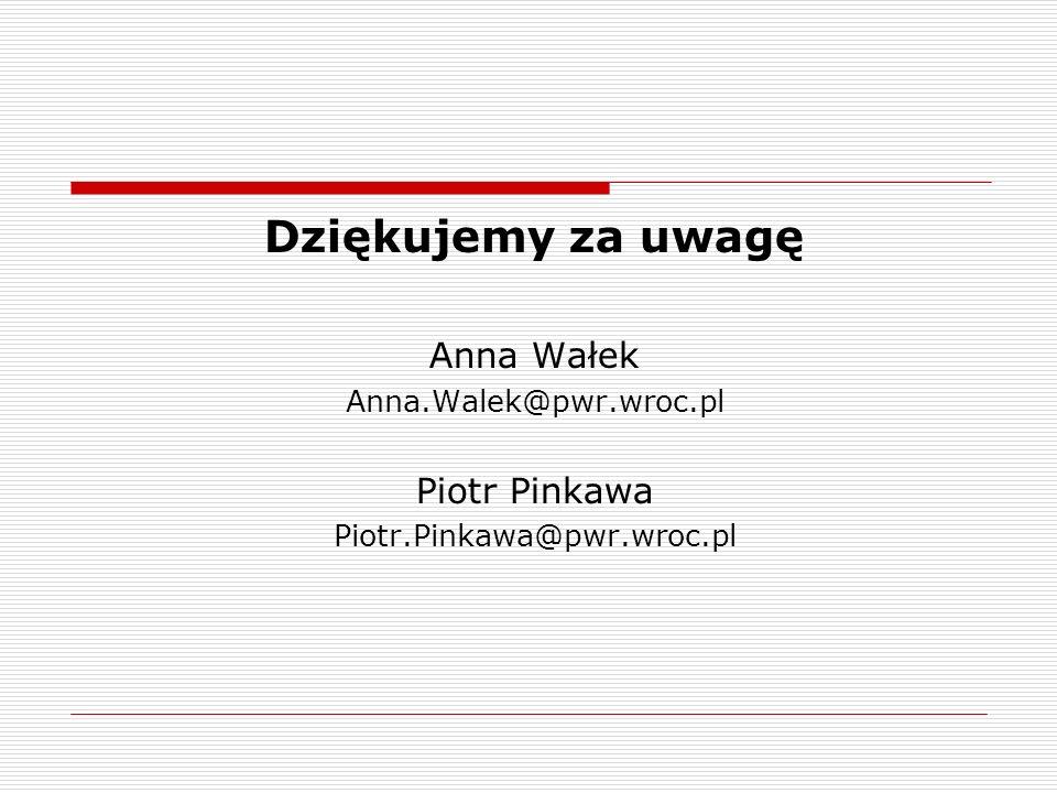 Dziękujemy za uwagę Anna Wałek Piotr Pinkawa Anna.Walek@pwr.wroc.pl