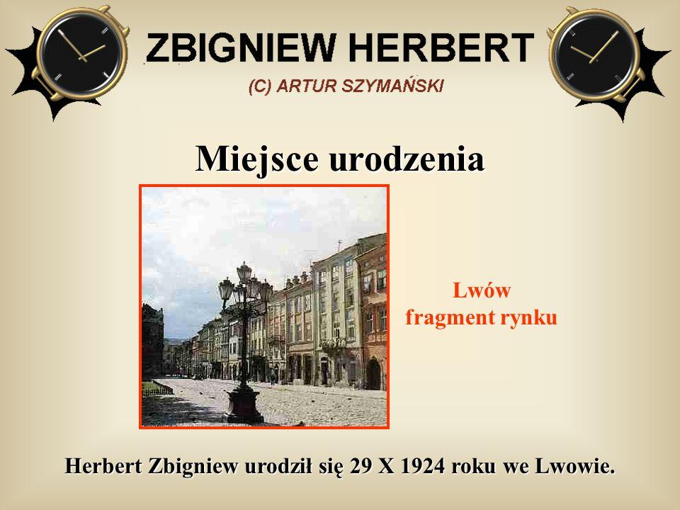 Herbert Zbigniew urodził się 29 X 1924 roku we Lwowie.