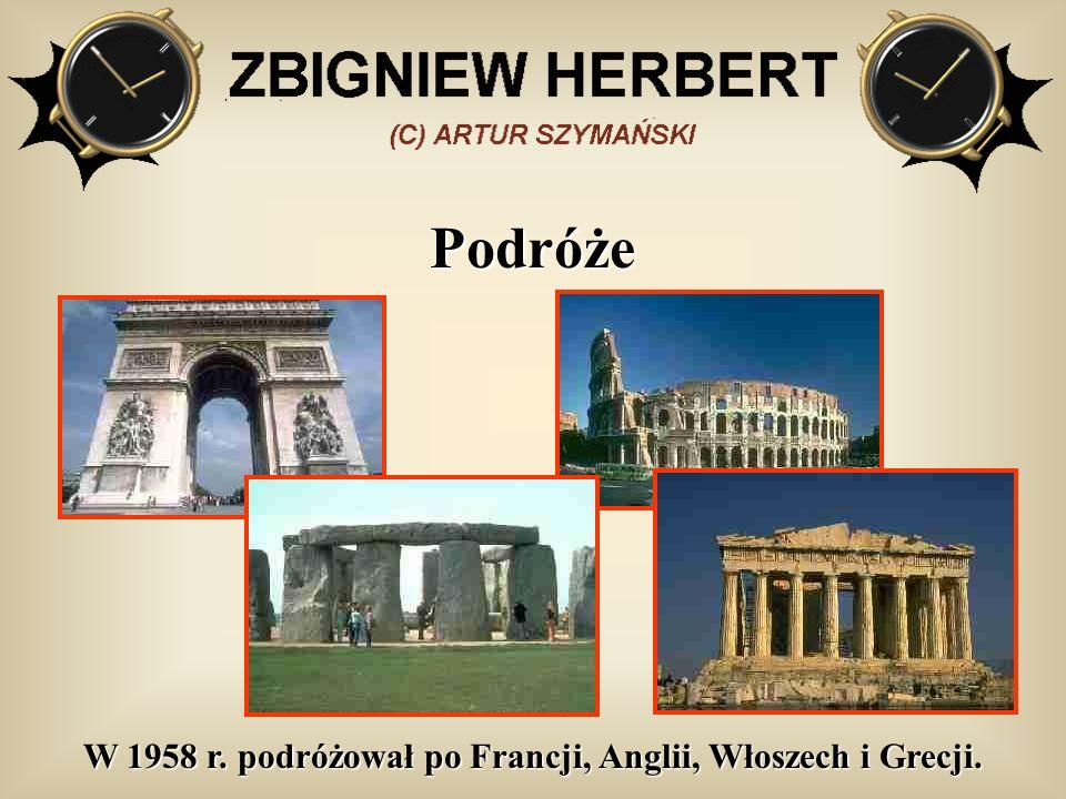 W 1958 r. podróżował po Francji, Anglii, Włoszech i Grecji.