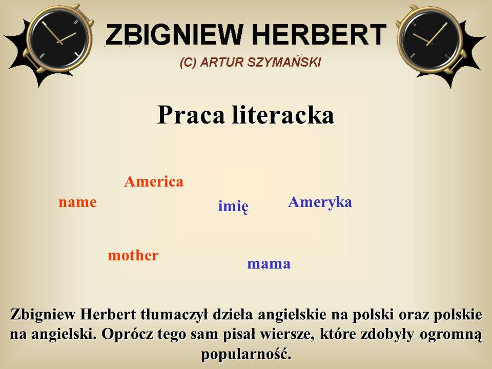 Praca literacka name imię mother America mama Ameryka