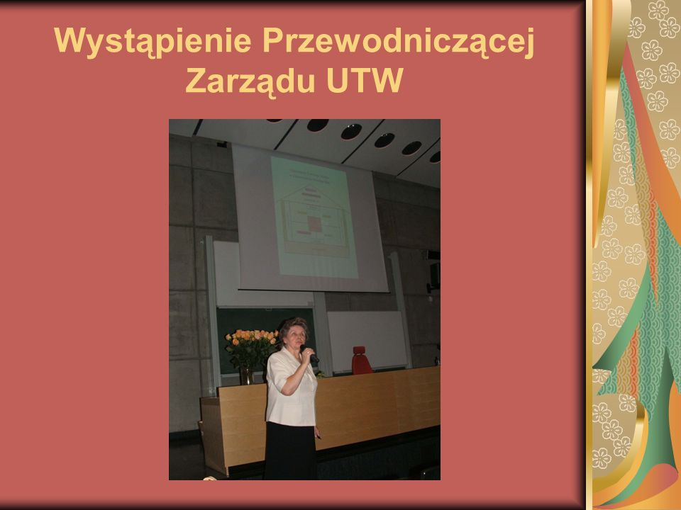 Wystąpienie Przewodniczącej Zarządu UTW