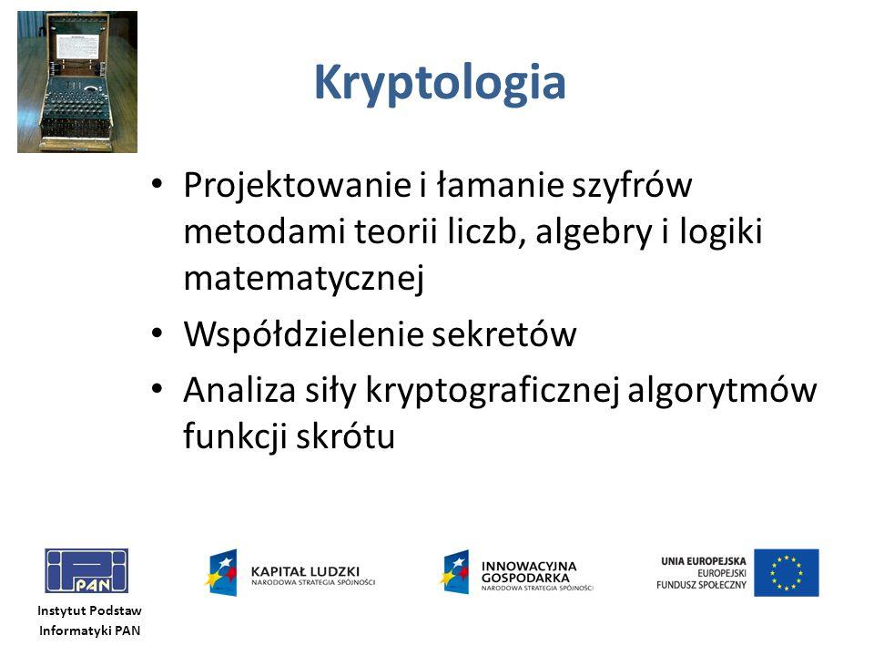 Kryptologia Projektowanie i łamanie szyfrów metodami teorii liczb, algebry i logiki matematycznej.